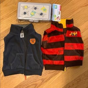 12 month vest for boys and wipes travel case